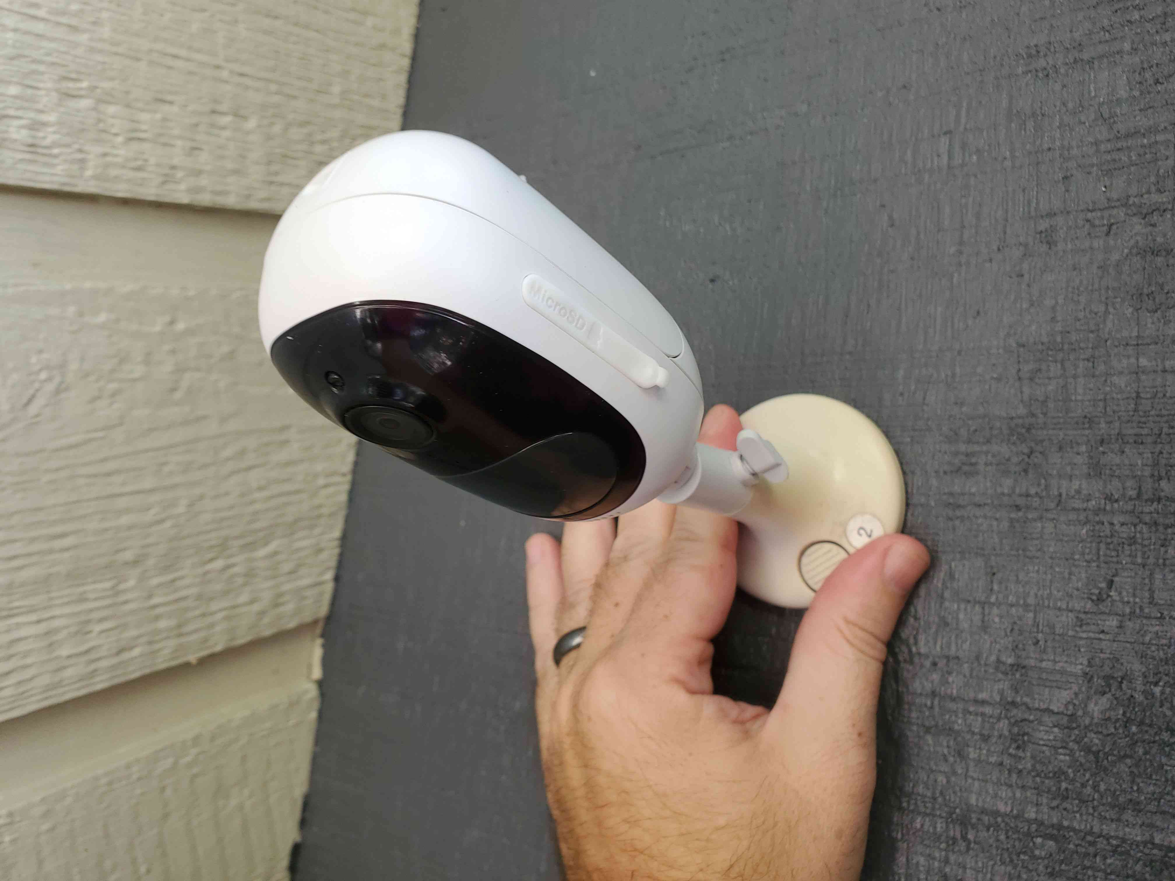 Image of mounting an outdoor security camera
