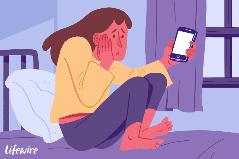 Illustration of a worried person with a white-screened iPhone
