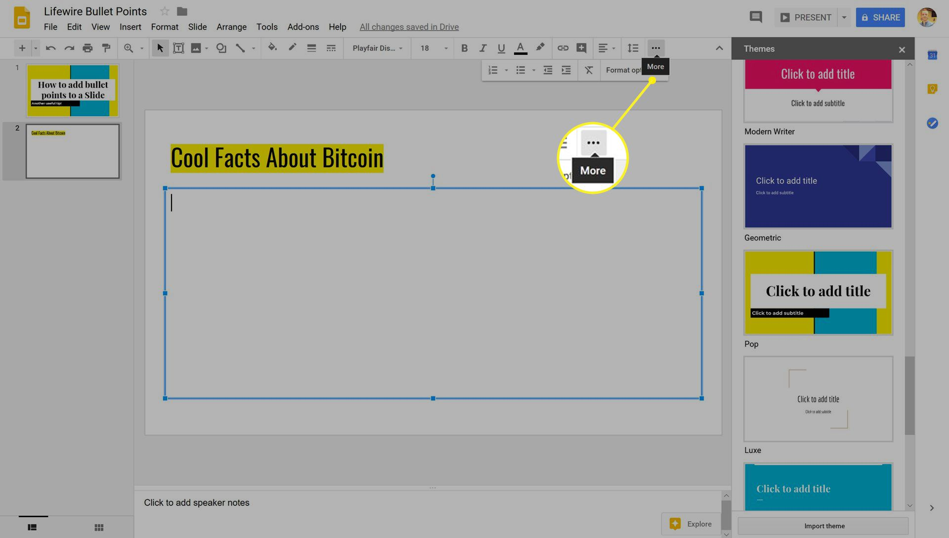 Google Slides with the More icon highlighted