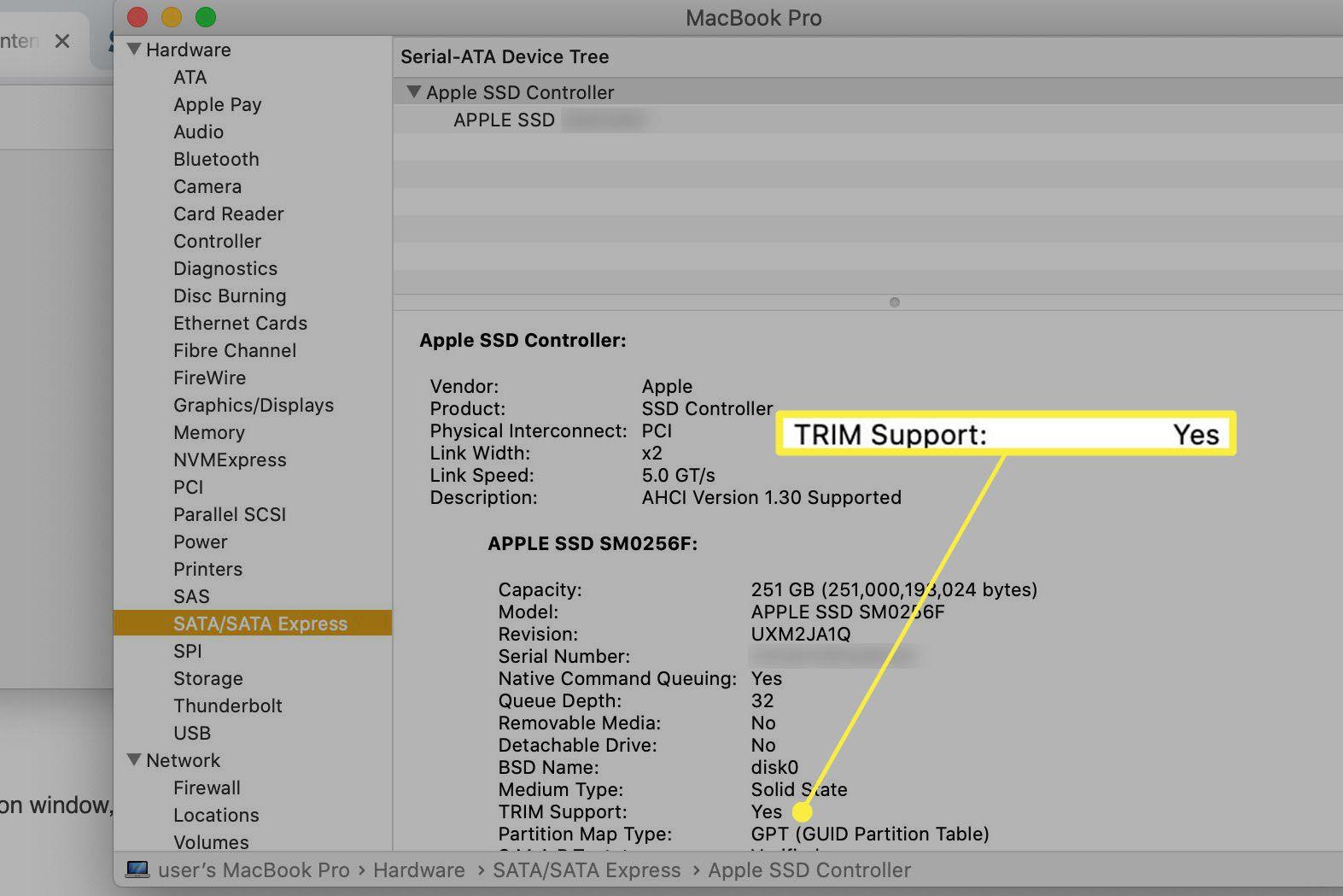 TRIM Support setting.