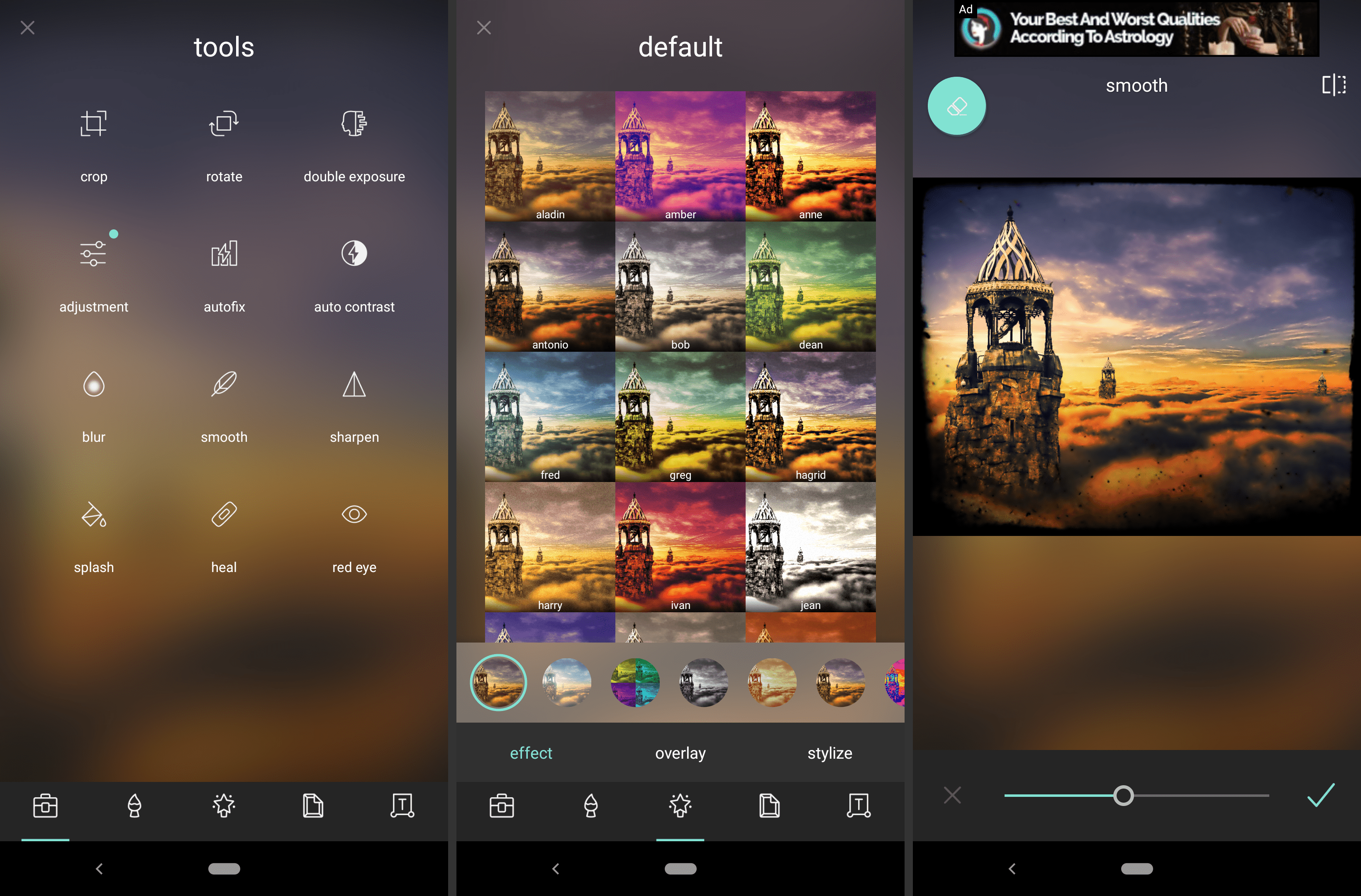 Screenshots of the Pixlr Android image editor app