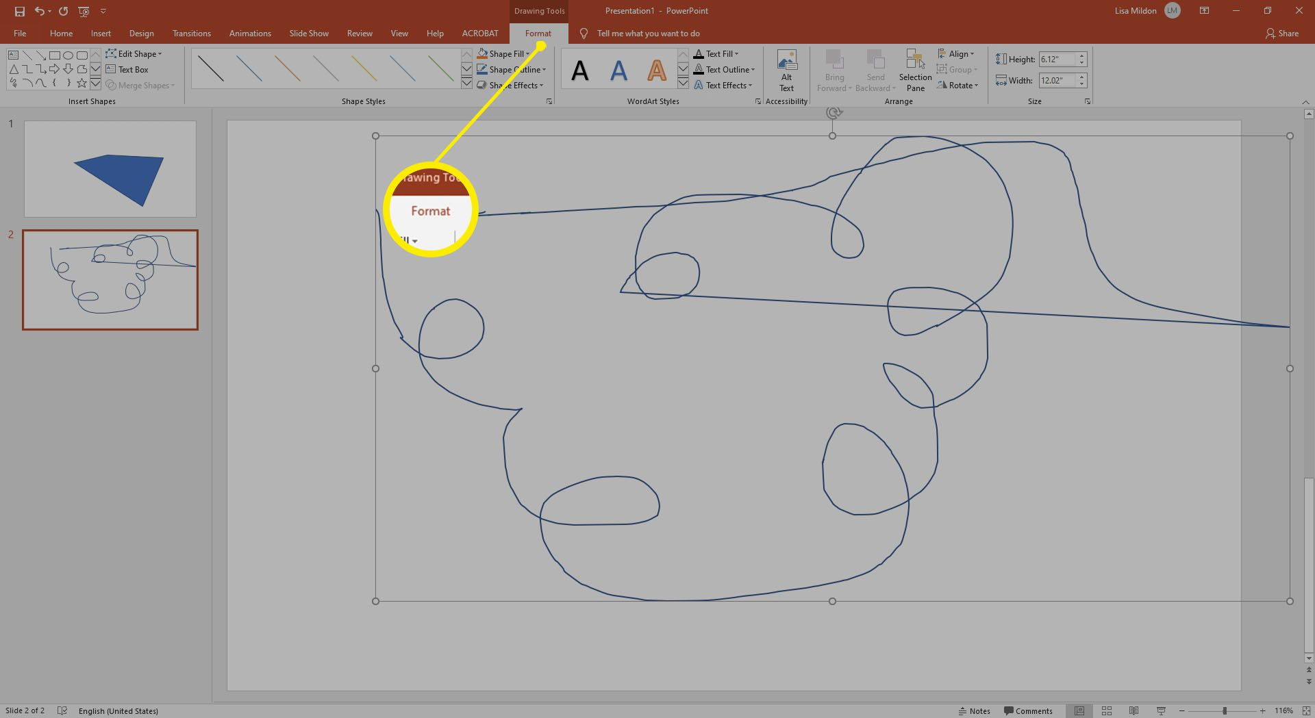 Drawing a shape in Powerpoint using the Scribble tool