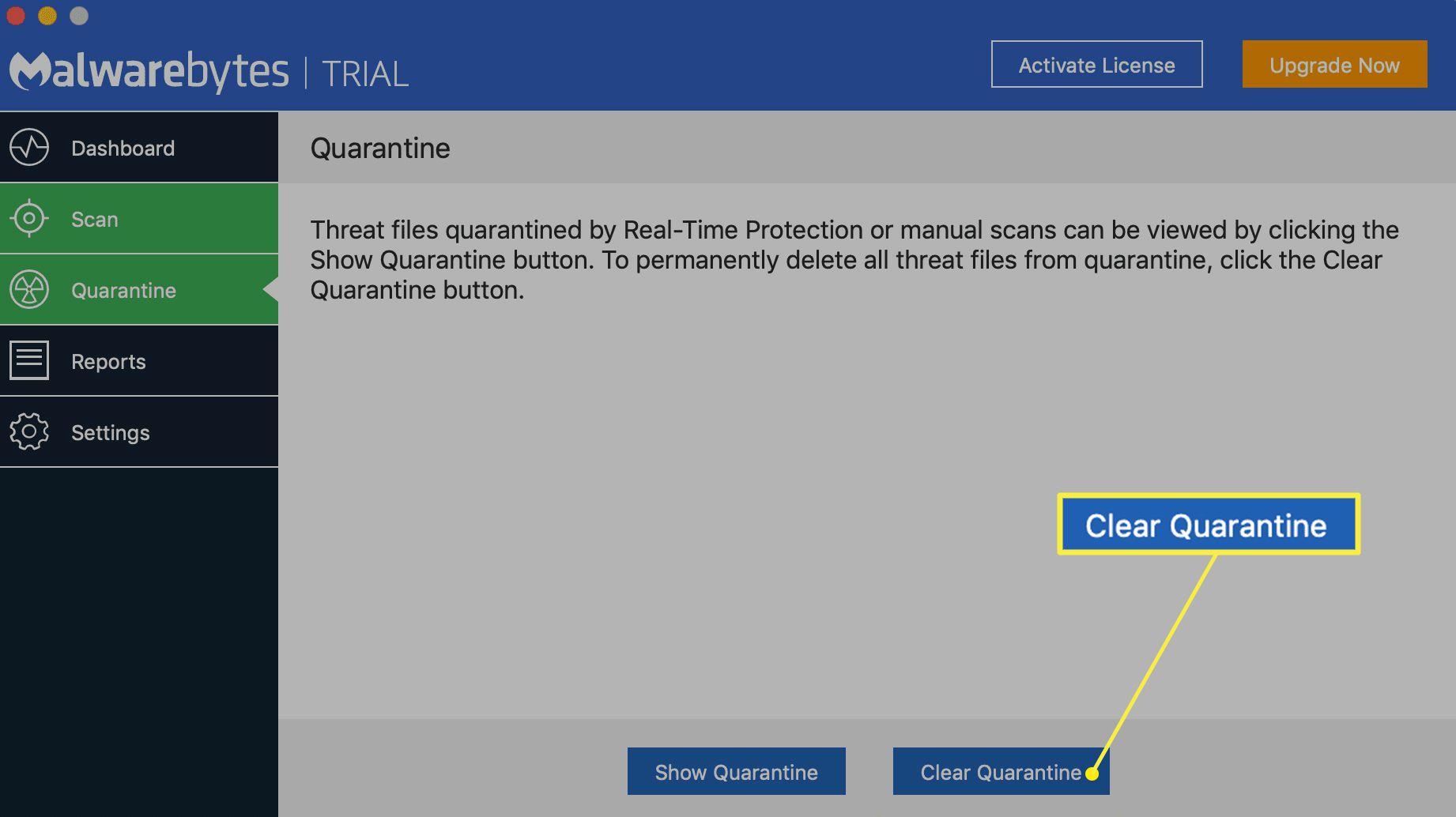 Malwarebytes for Mac quarantine list with Clear Quarantine button highlighted