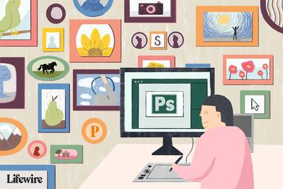 Illustration of a person using Photoshop on their computer against a wall full of framed photos