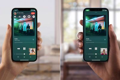Twi iPhones using SharePlay to listen to a song on a FaceTime call