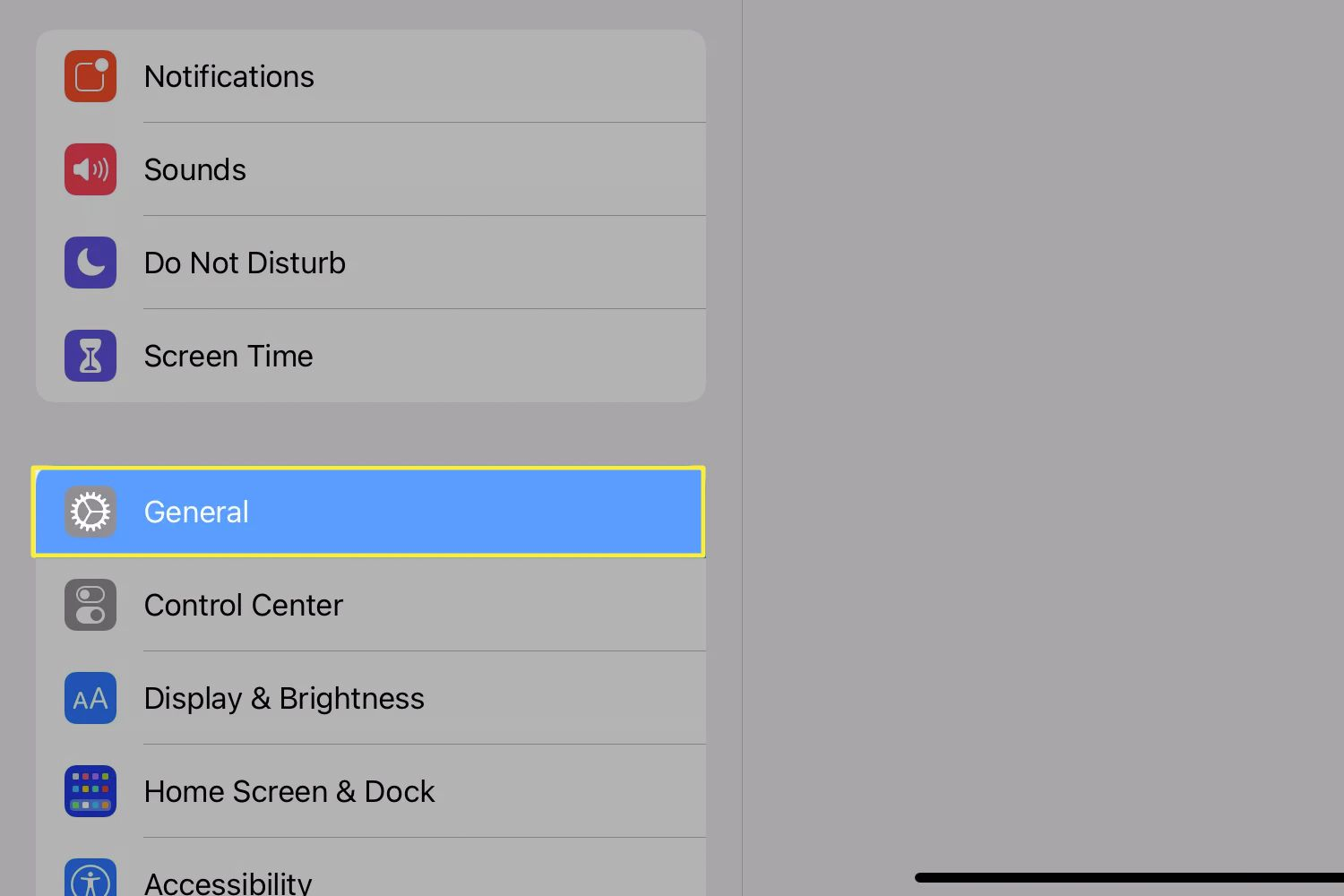 The iPadOS settings app open with the General option selected.