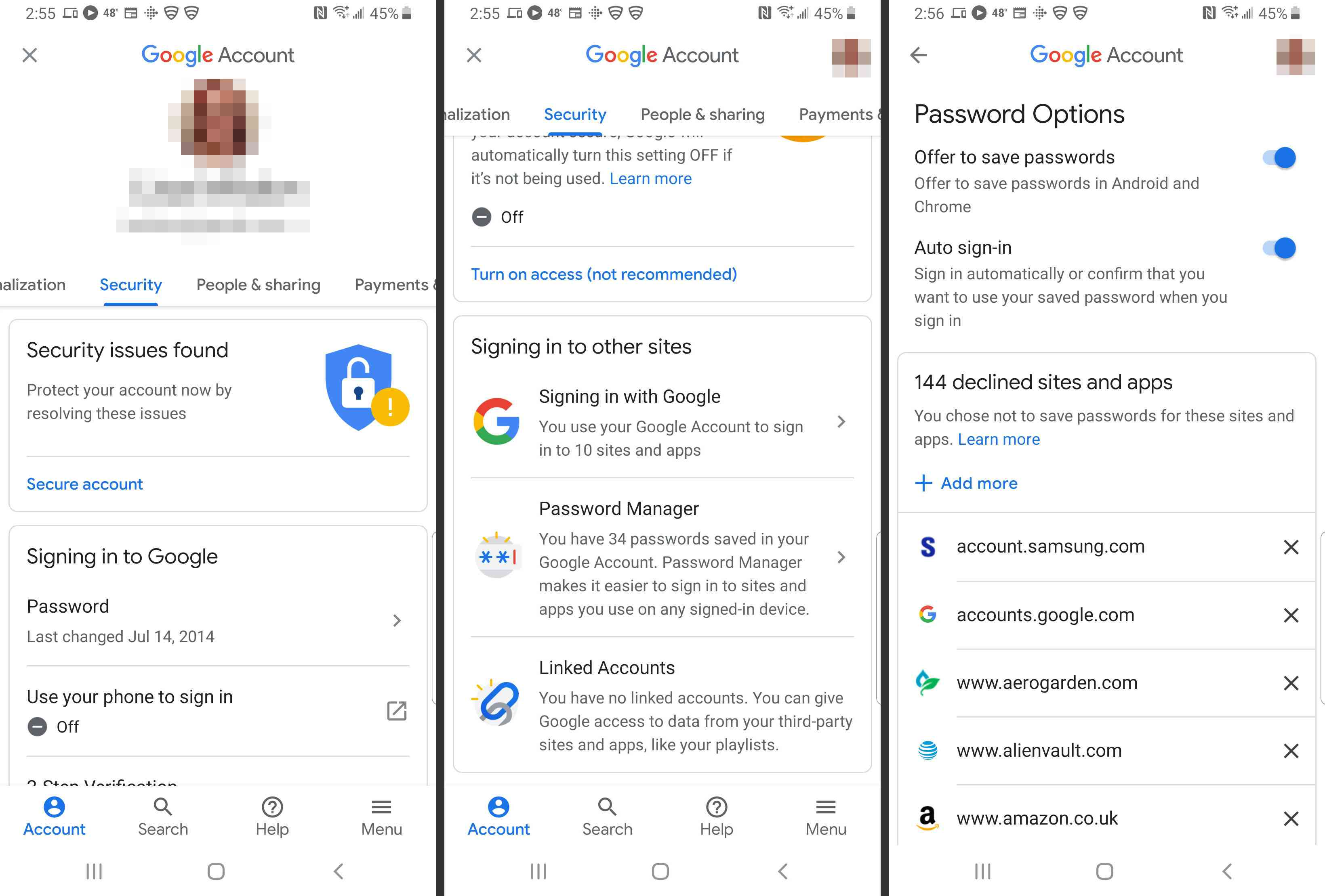 Google, Smart Lock for Passwords buttons and toggles for Smart Lock and Auto sign-in