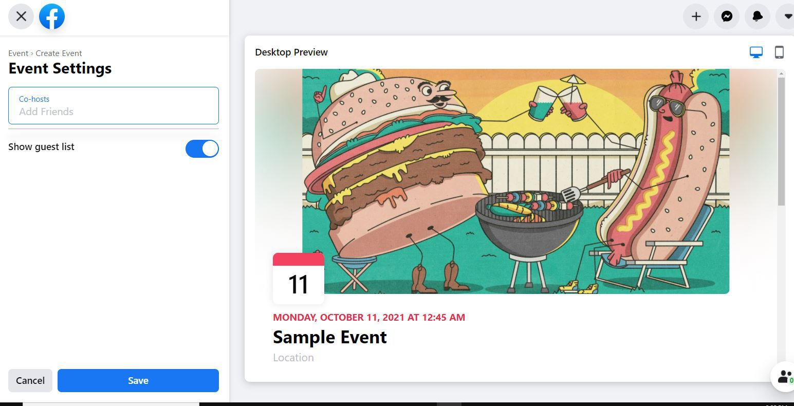 Event Settings options in Facebook Event setup