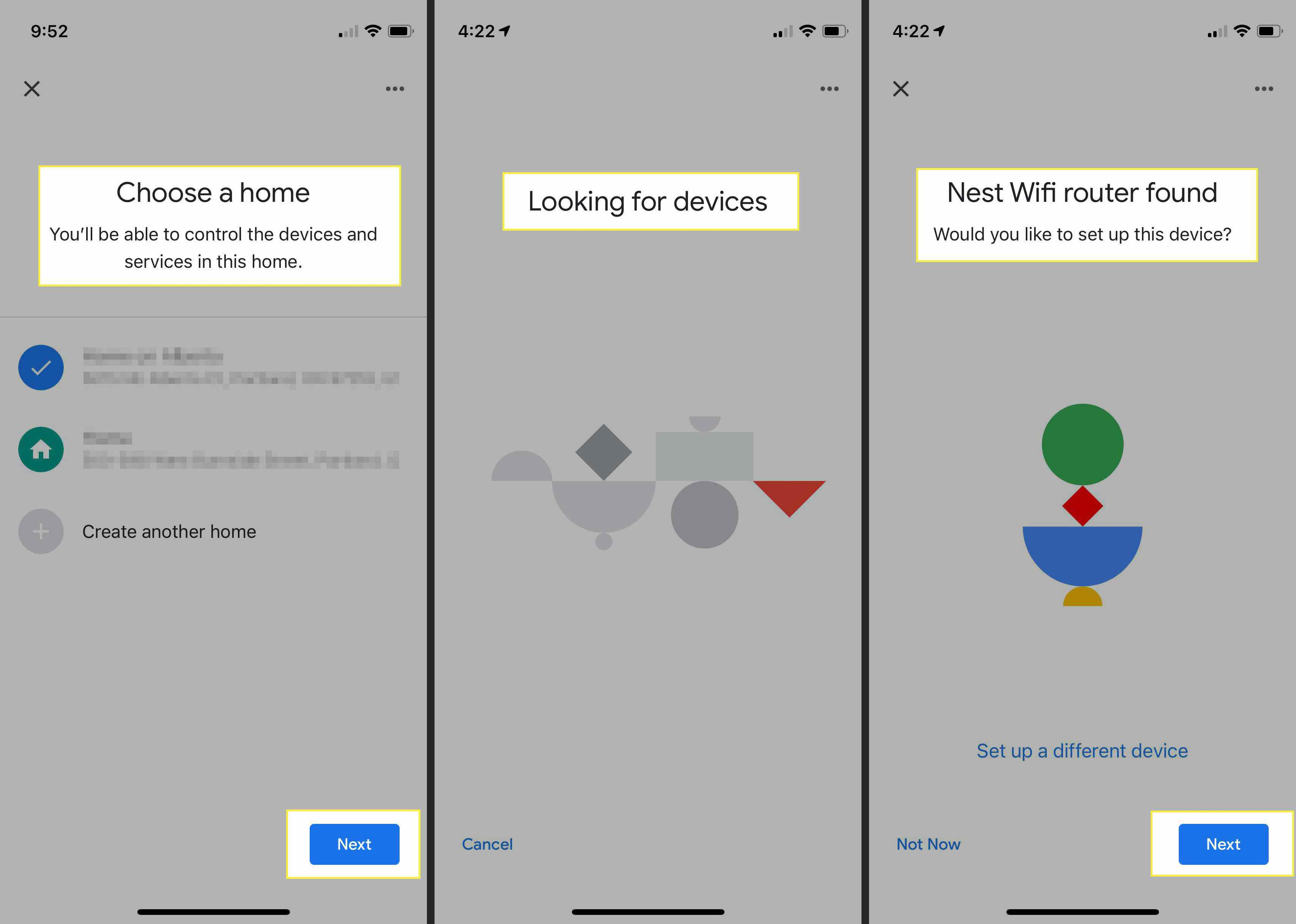 Adding a Nest router to your network on an iPhone in Google Home app