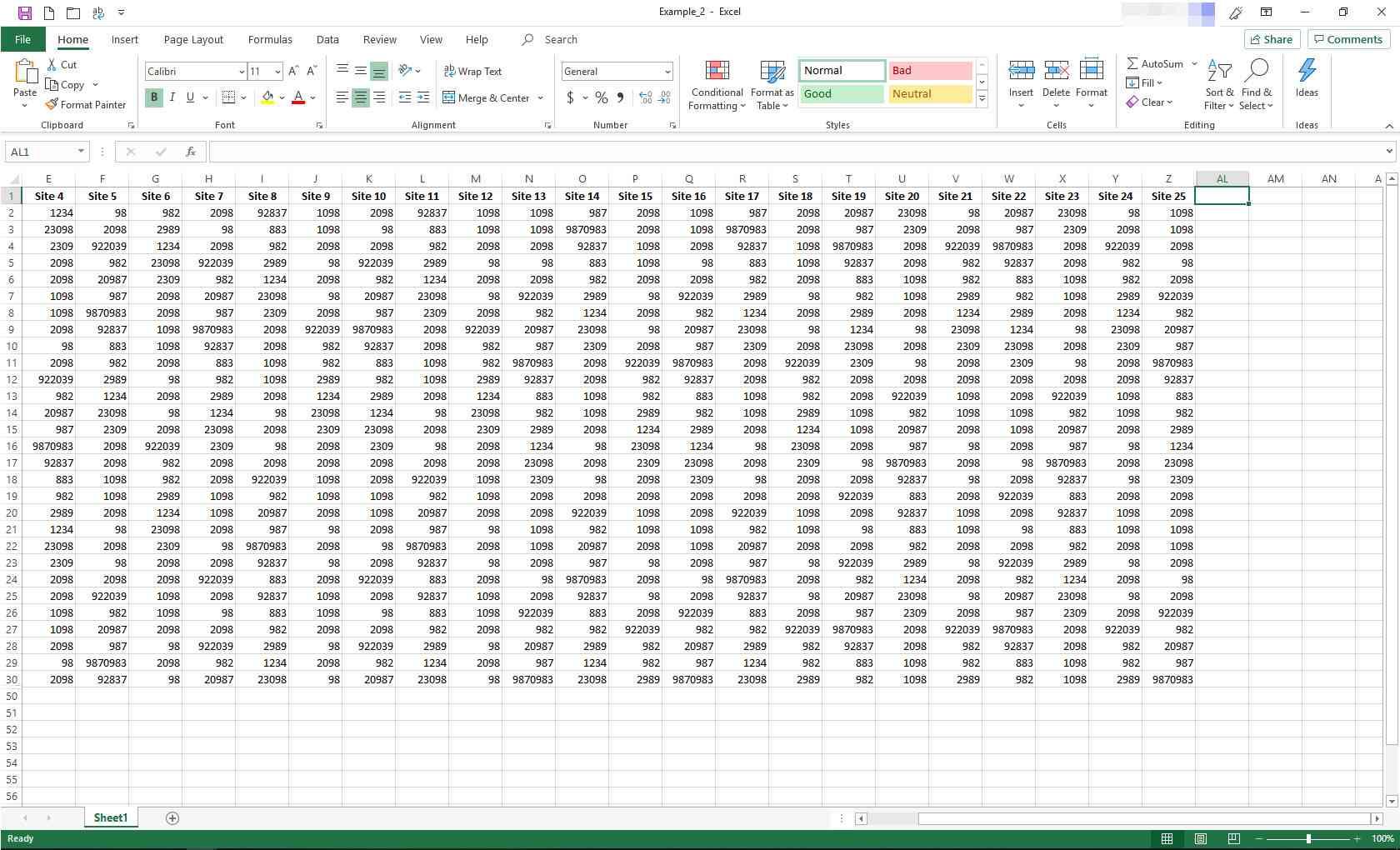 Excel worksheet with some columns hidden