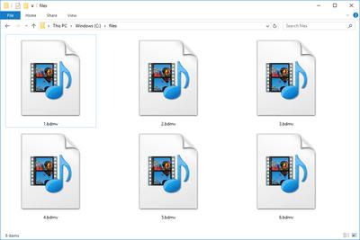 Several BDMV files in Windows 10