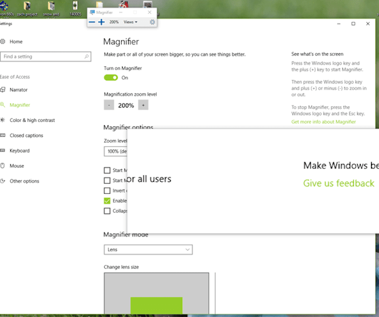 Screenshot of PC Windows 10 magnifier settings with magnifier set at 200%