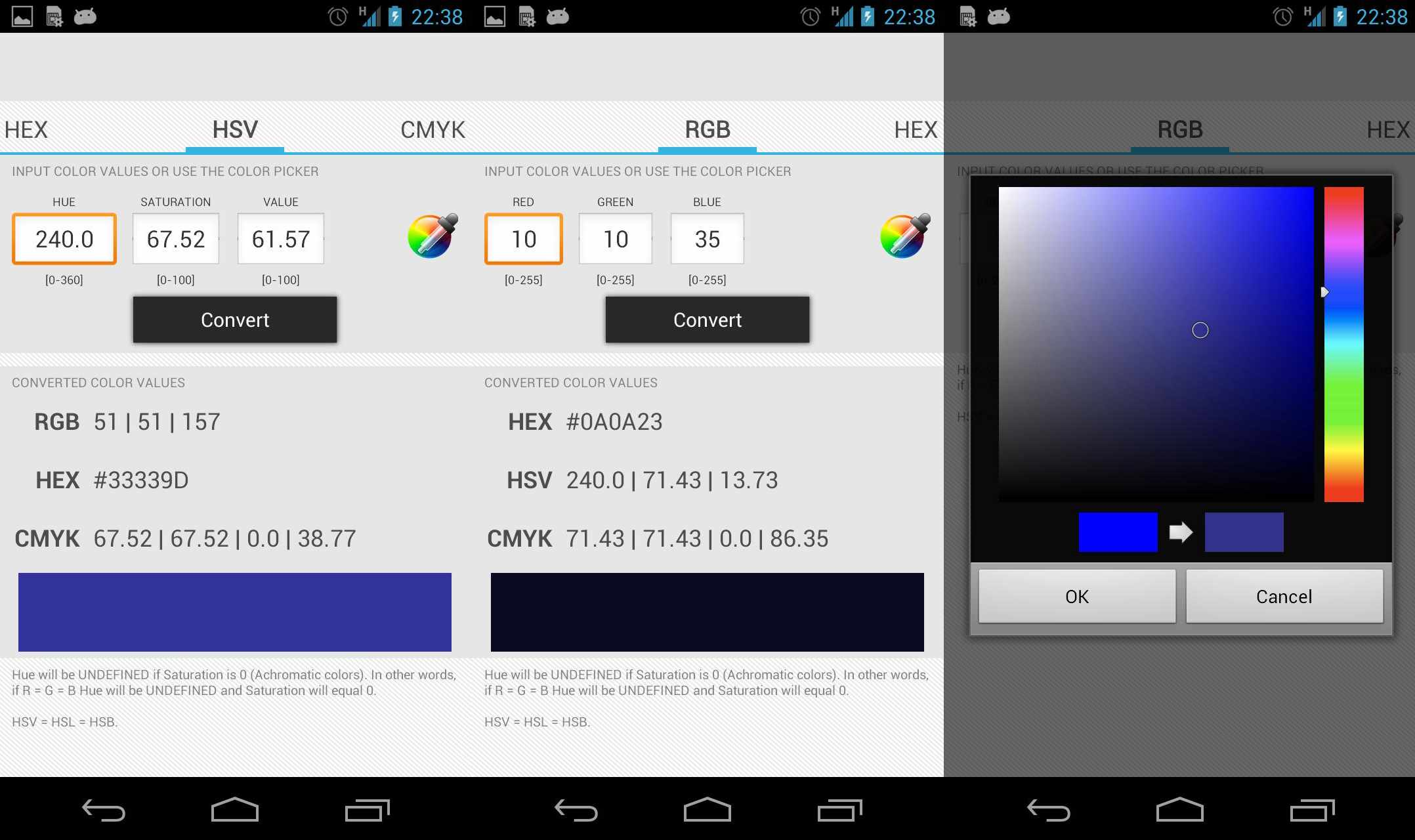 Color Converter app on Android.