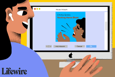 Illustration of a person looking at Album Artwork on an iMac