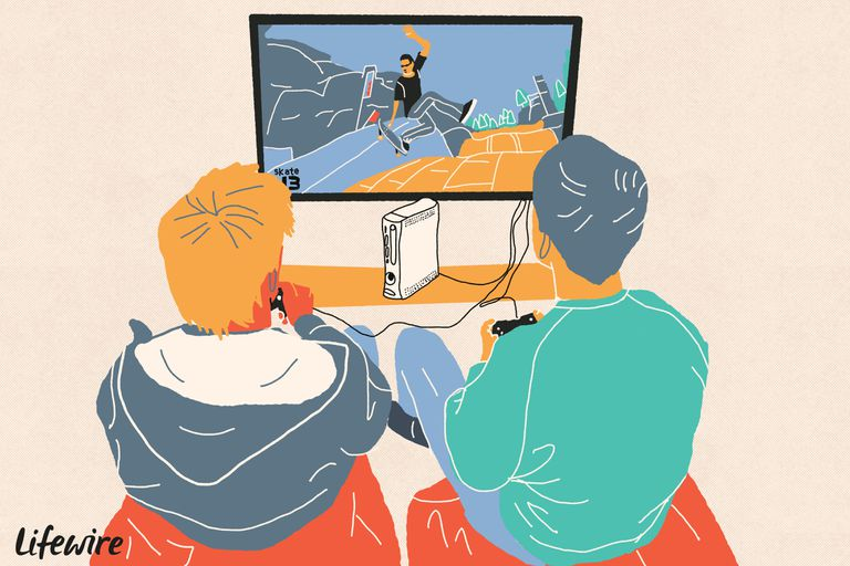Illustration of two people playing Skate 3 on an Xbox 360