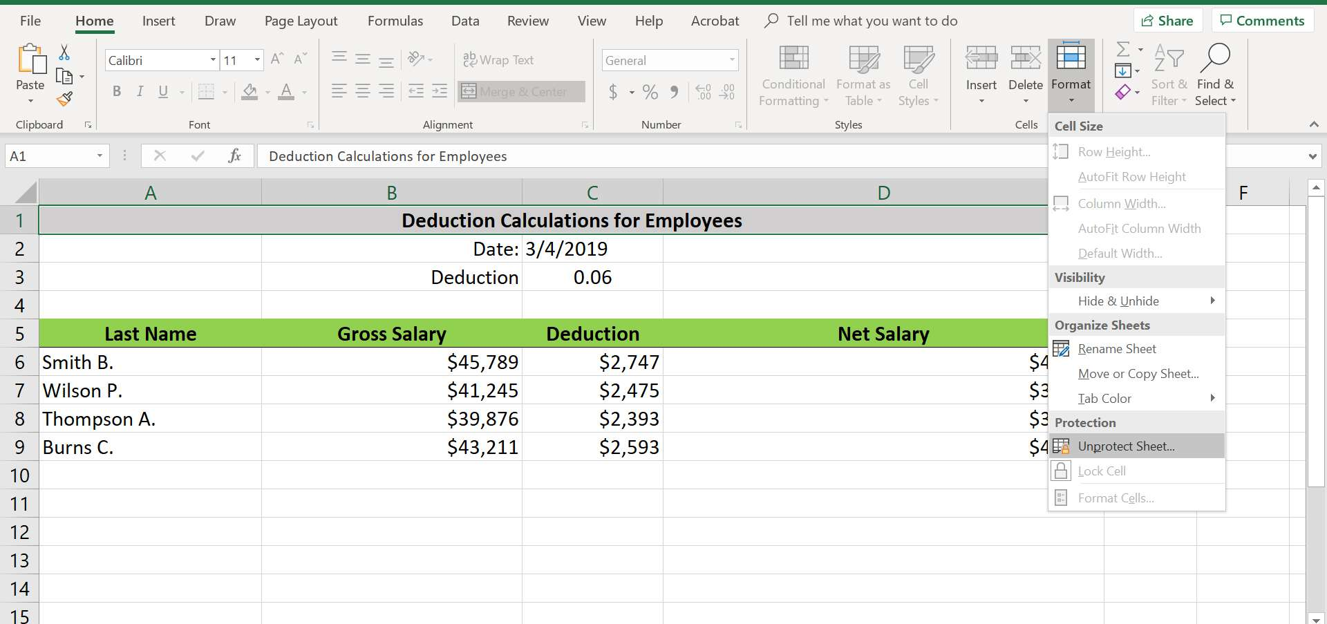 Excel's Format drop-down menu with Unprotect Sheet selected.