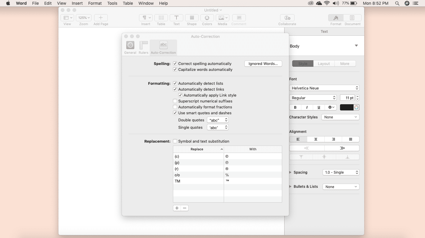 Screenshot of Auto-Correction feature in Apple Pages