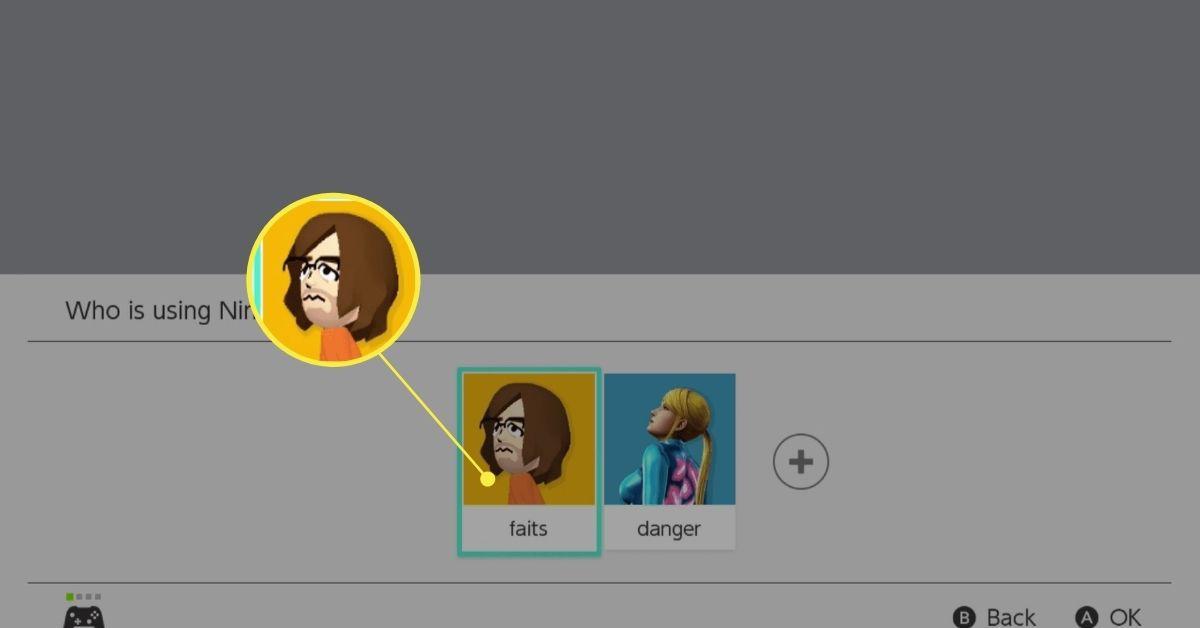 Selecting a profile for the Nintendo eShop.