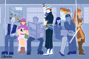 Three RPG players on a subway, all dressed in fantasy clothing and using their Android phones