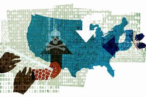Graphic showing malware attacks on the USA