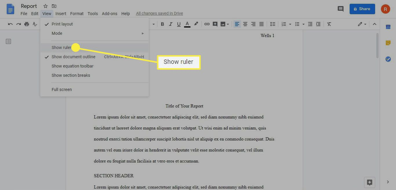 How to show the ruler in Google Docs.