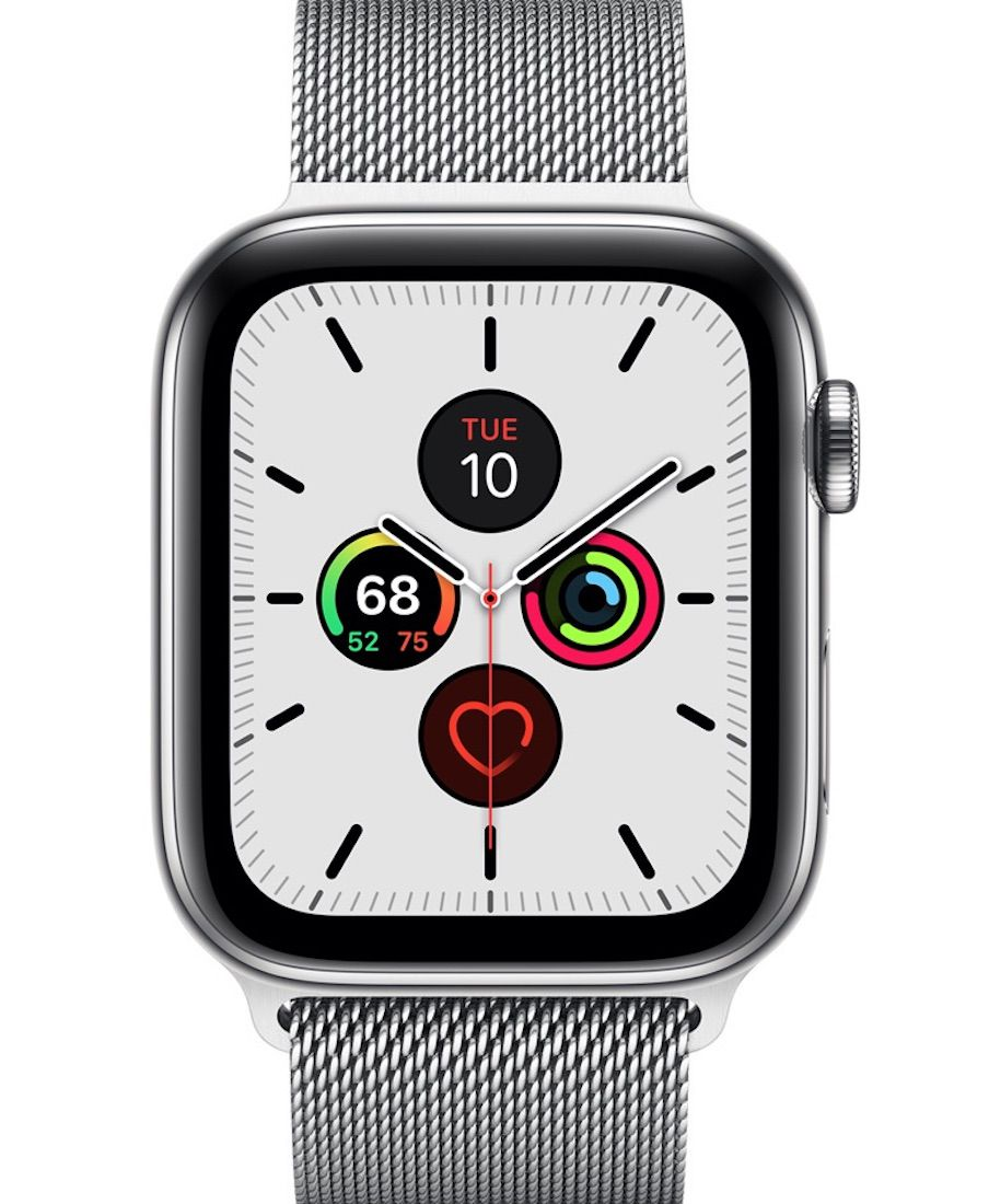 Apple Watch Series 5 in silver showing the home screen
