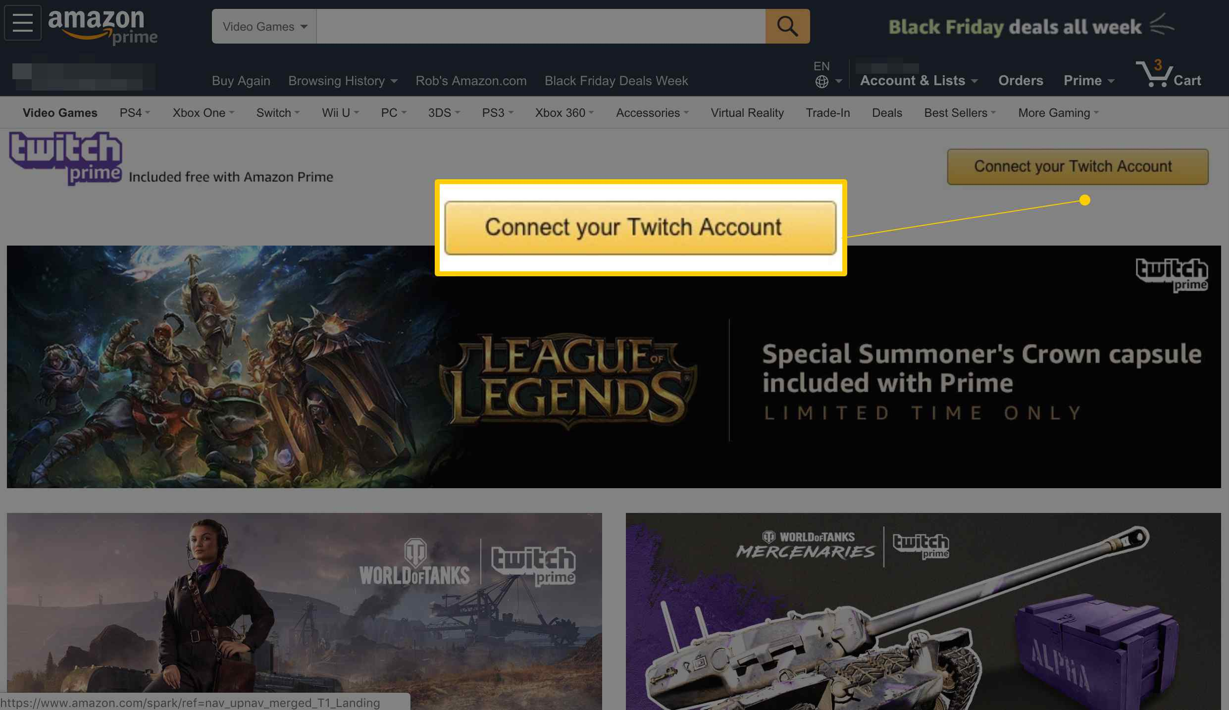 Connect your Twitch Account button on Amazon