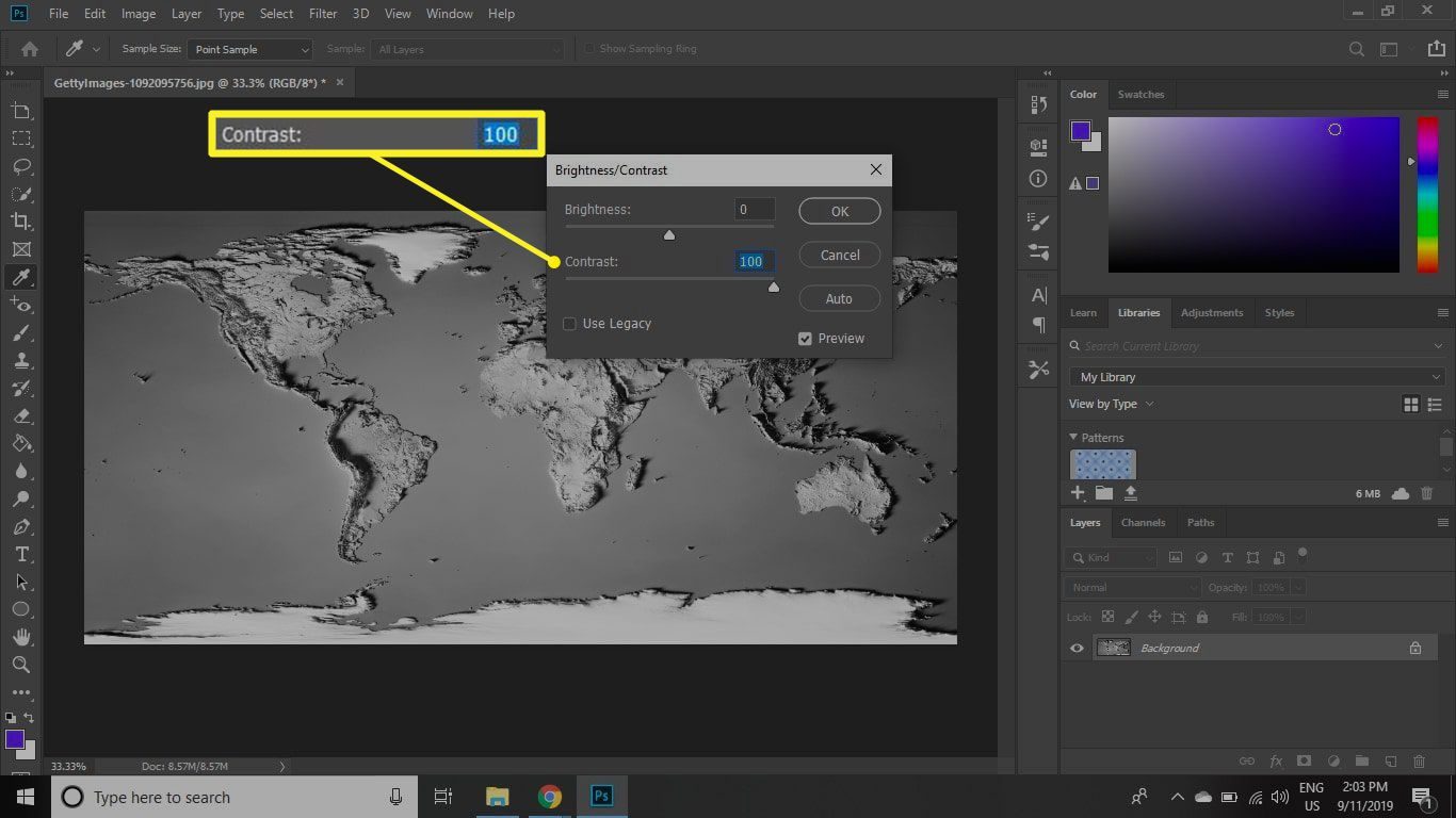 Contrast setting in Photoshop