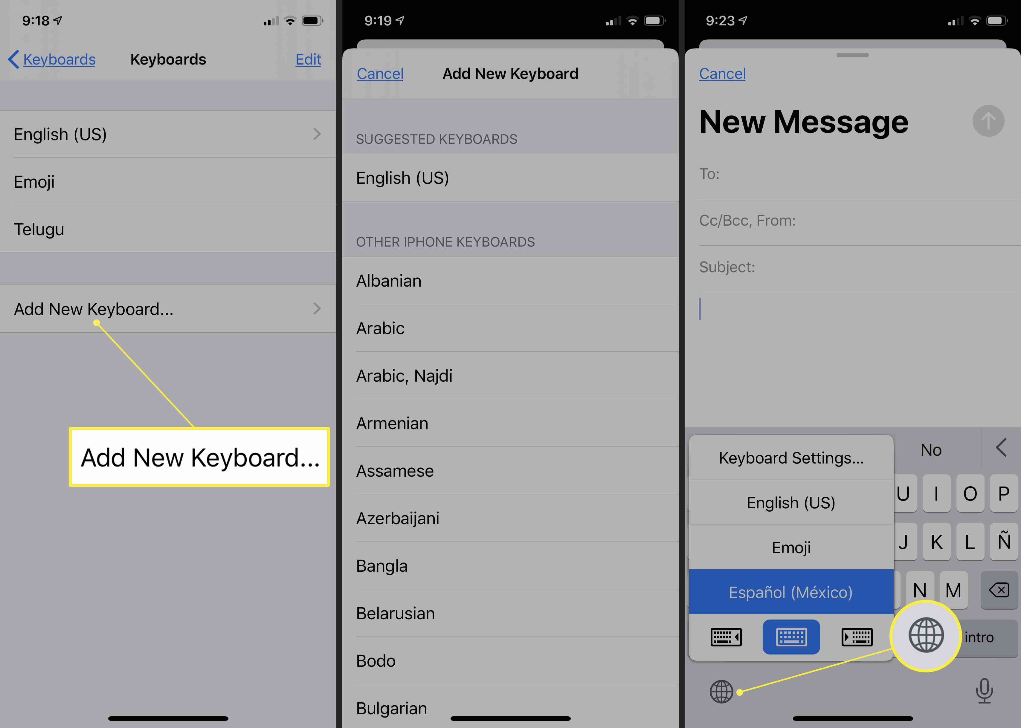 iOS screens for adding a keyboard