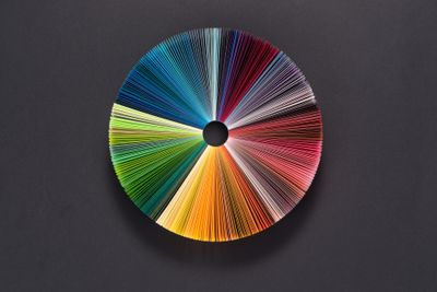 Colorful circle made of different colored paper
