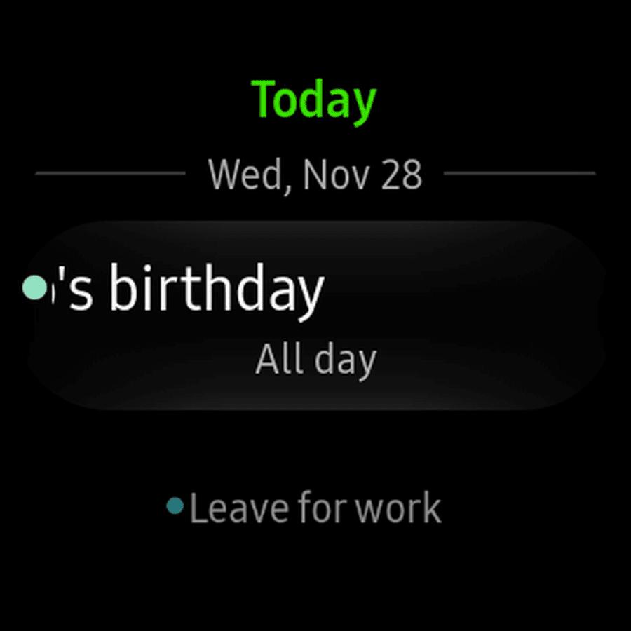 Screenshot of the Galaxy Watch calendar app.