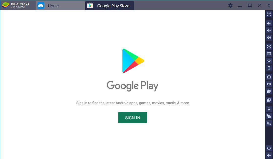 A screenshot of BluStacks.