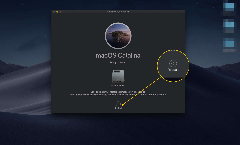 Restart button in the Install macOS Catalina app