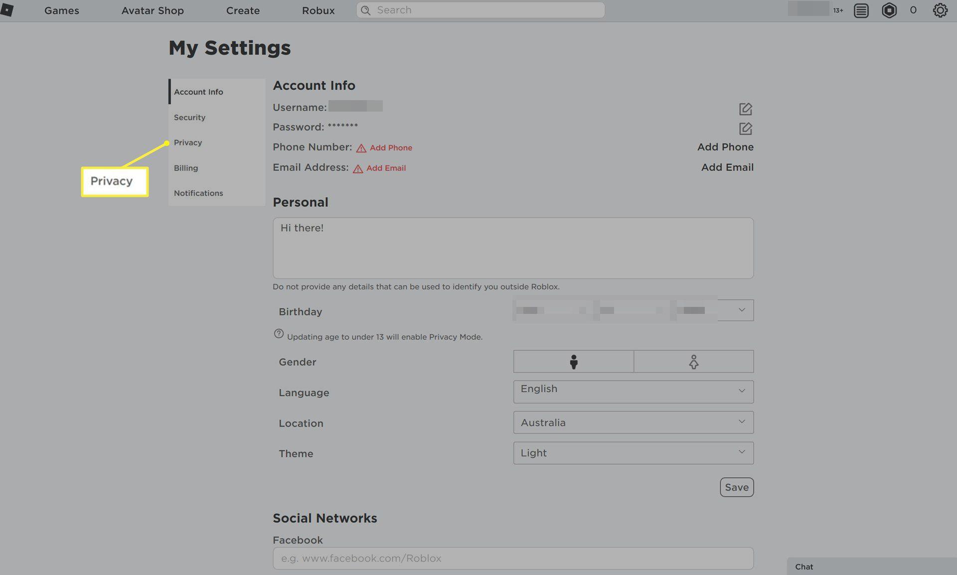 Privacy in menu