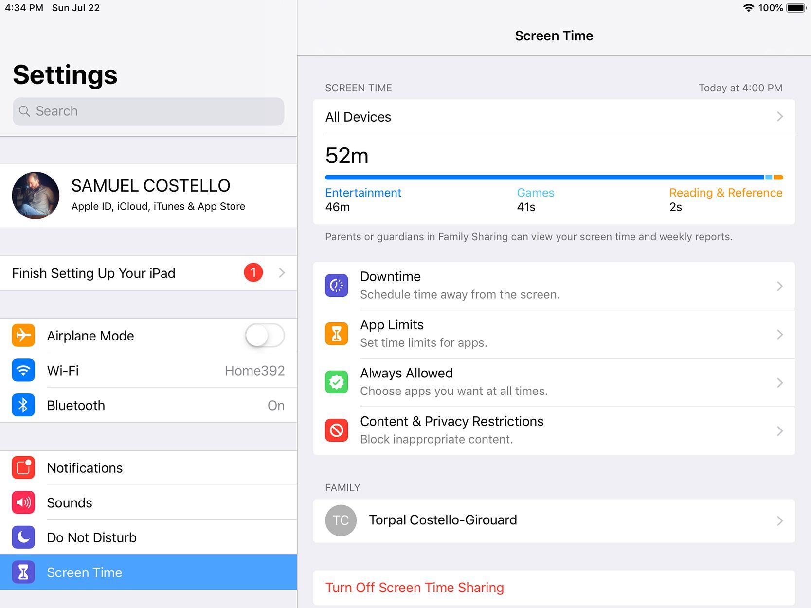 Setting screen in Screen Time