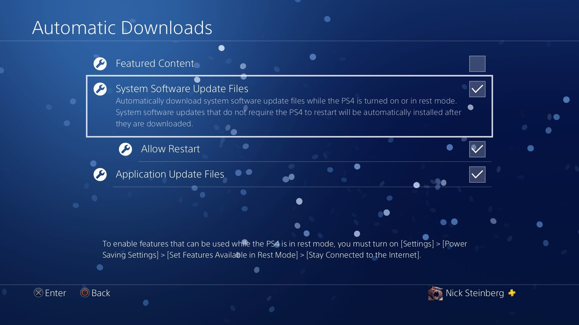 Selecting System Software Update Files under PS4 Automatic Downloads.