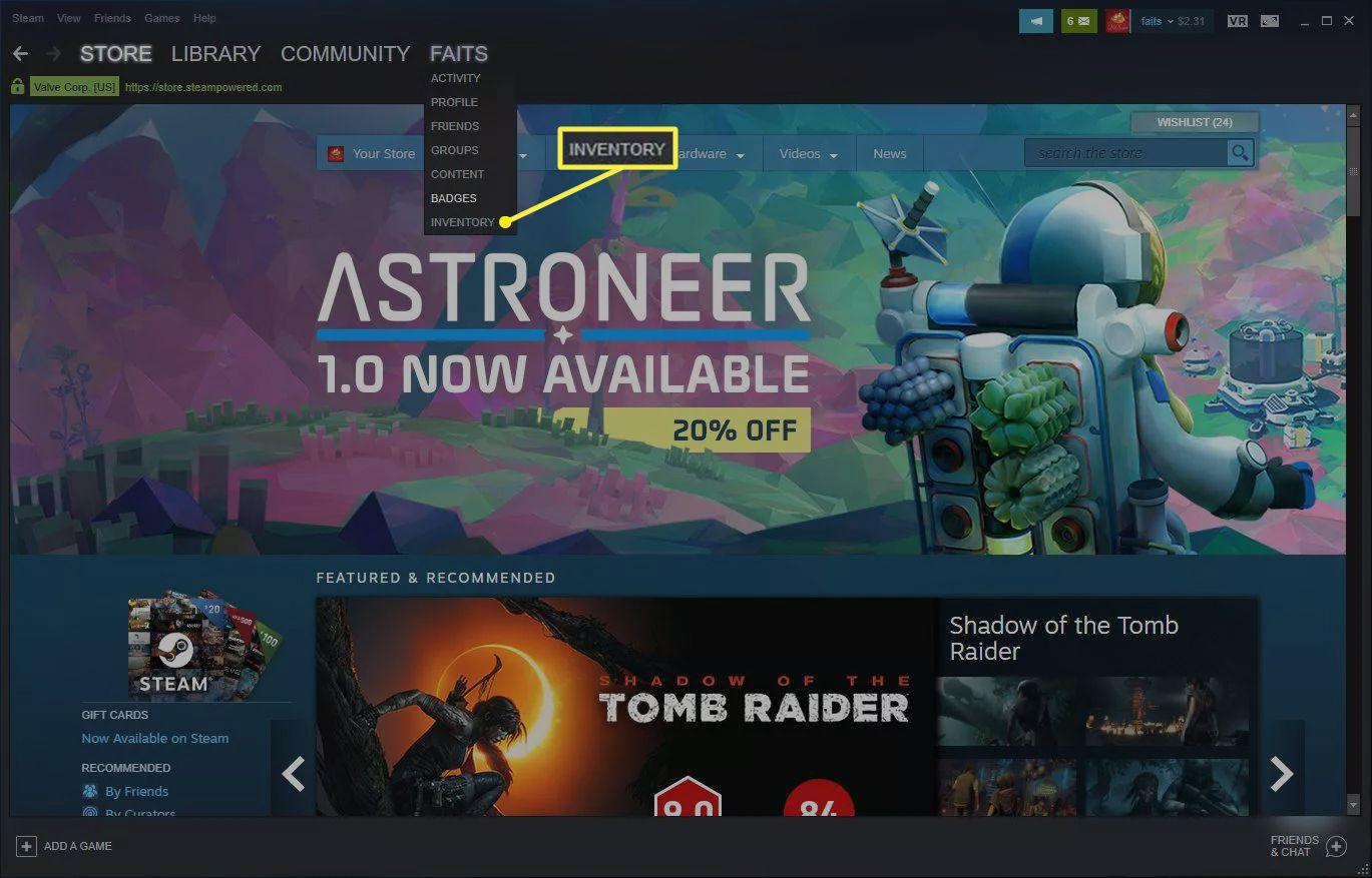 Inventory selected in menu under username