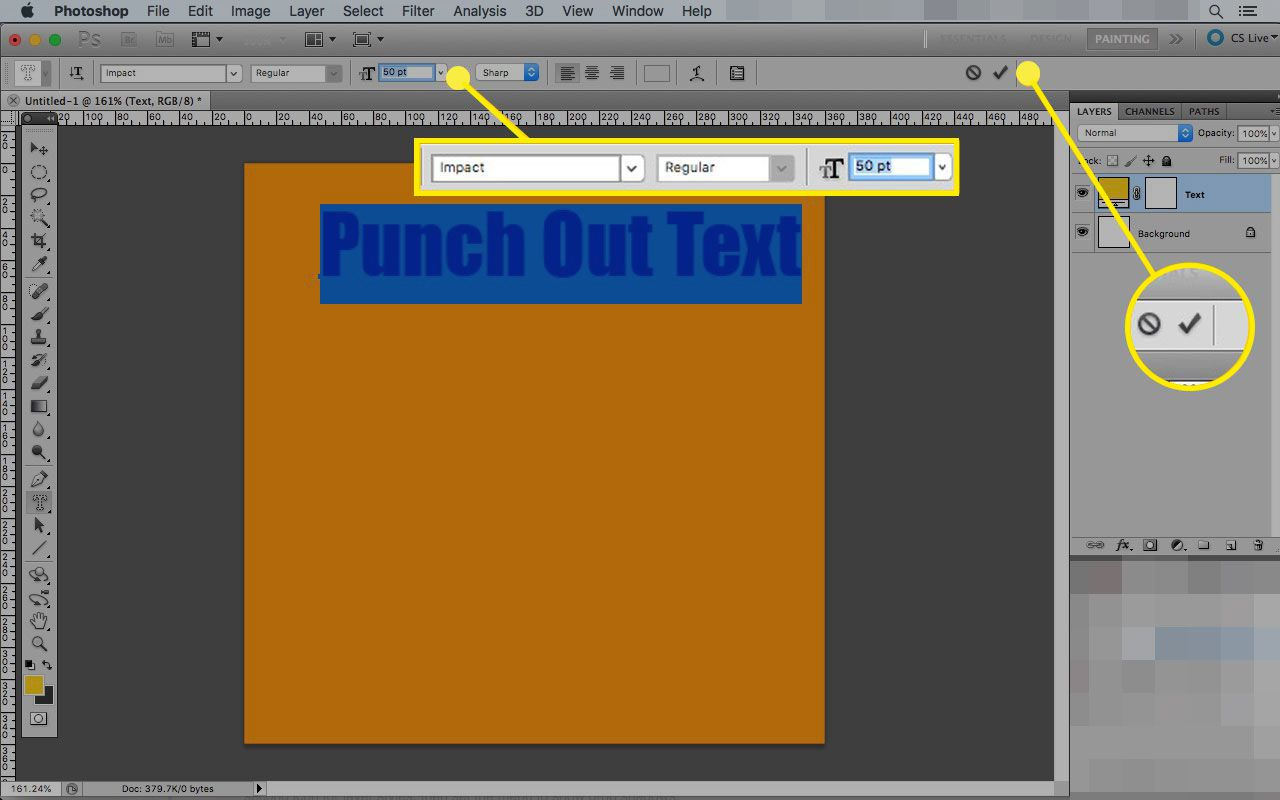 Text font and size menu in Photoshop
