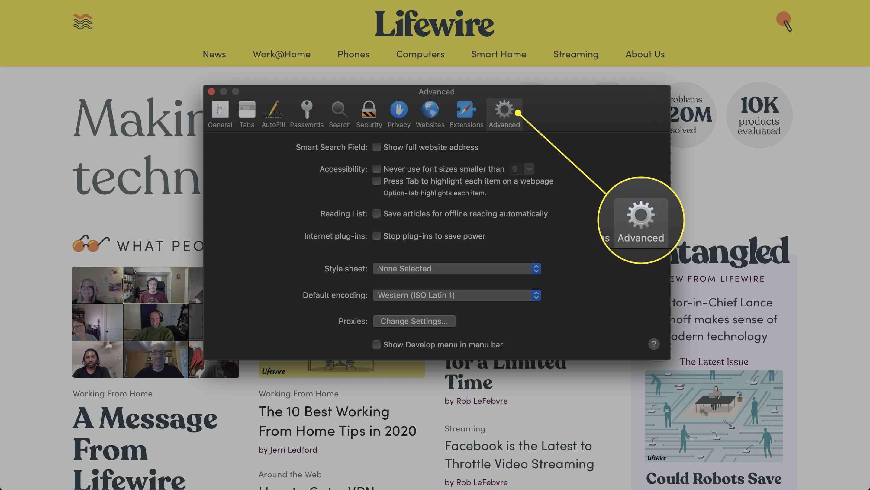 Screenshot of Safari's Preferences menu with the Advanced tab highlighted