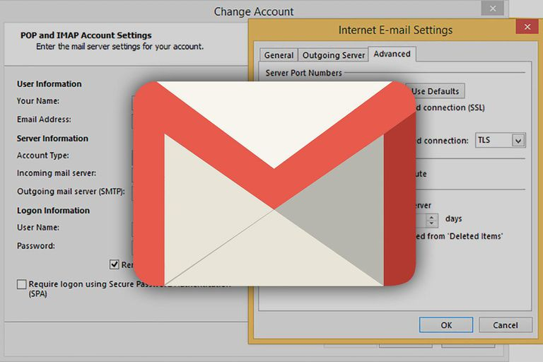 The Gmail logo over the software