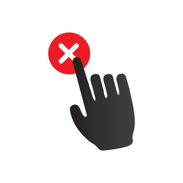 Illustrated finger clicking a red X