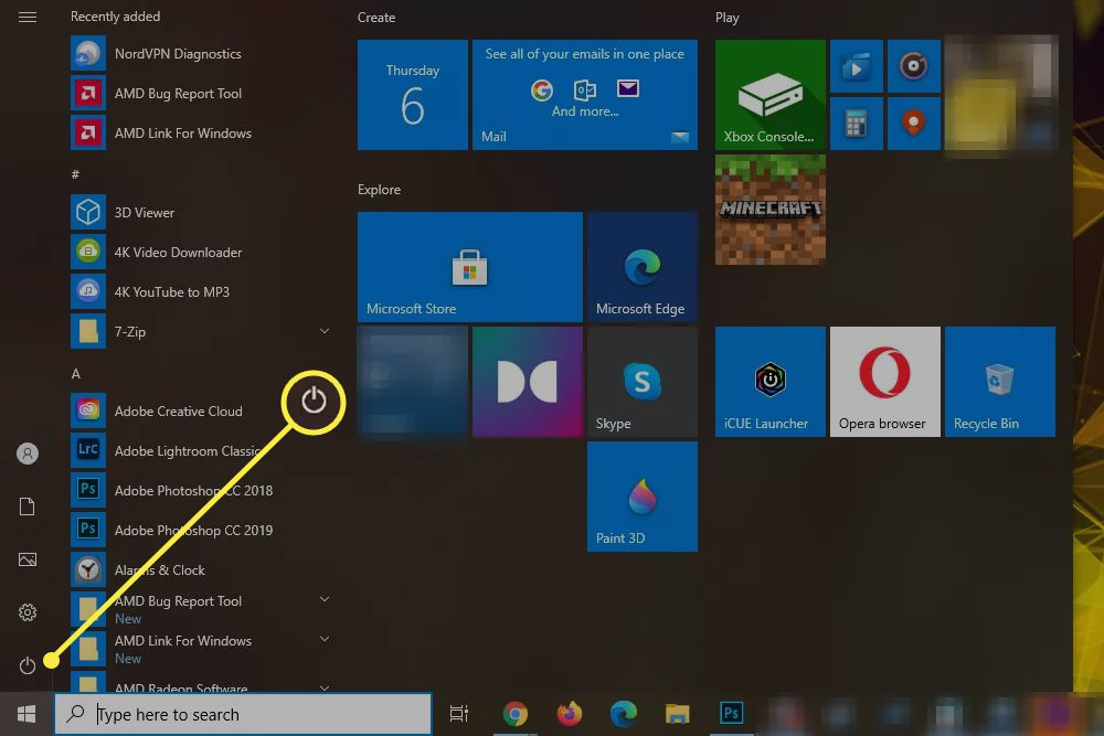 Windows 10 start menu open with the power icon highlighted