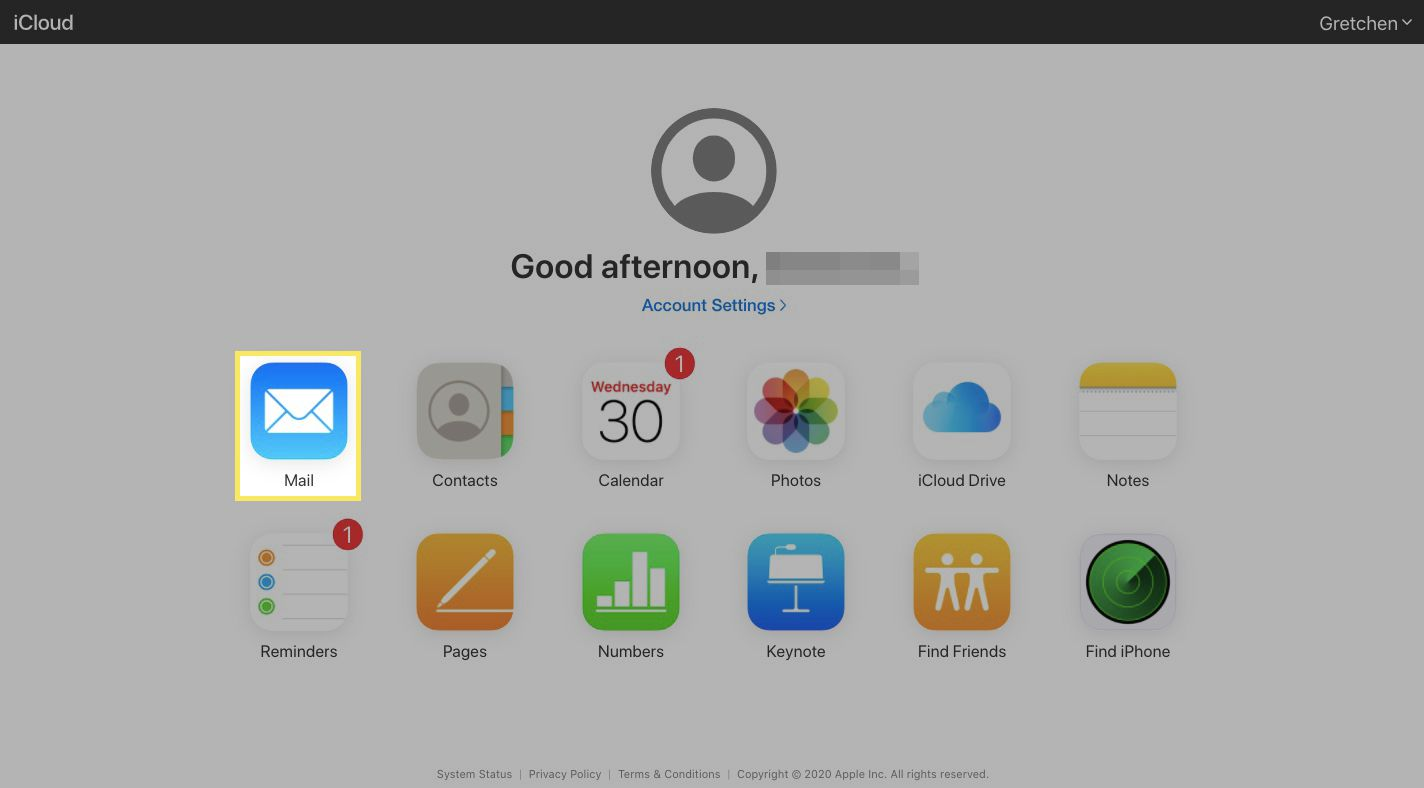 Your iCloud dashboard with Mail highlighted