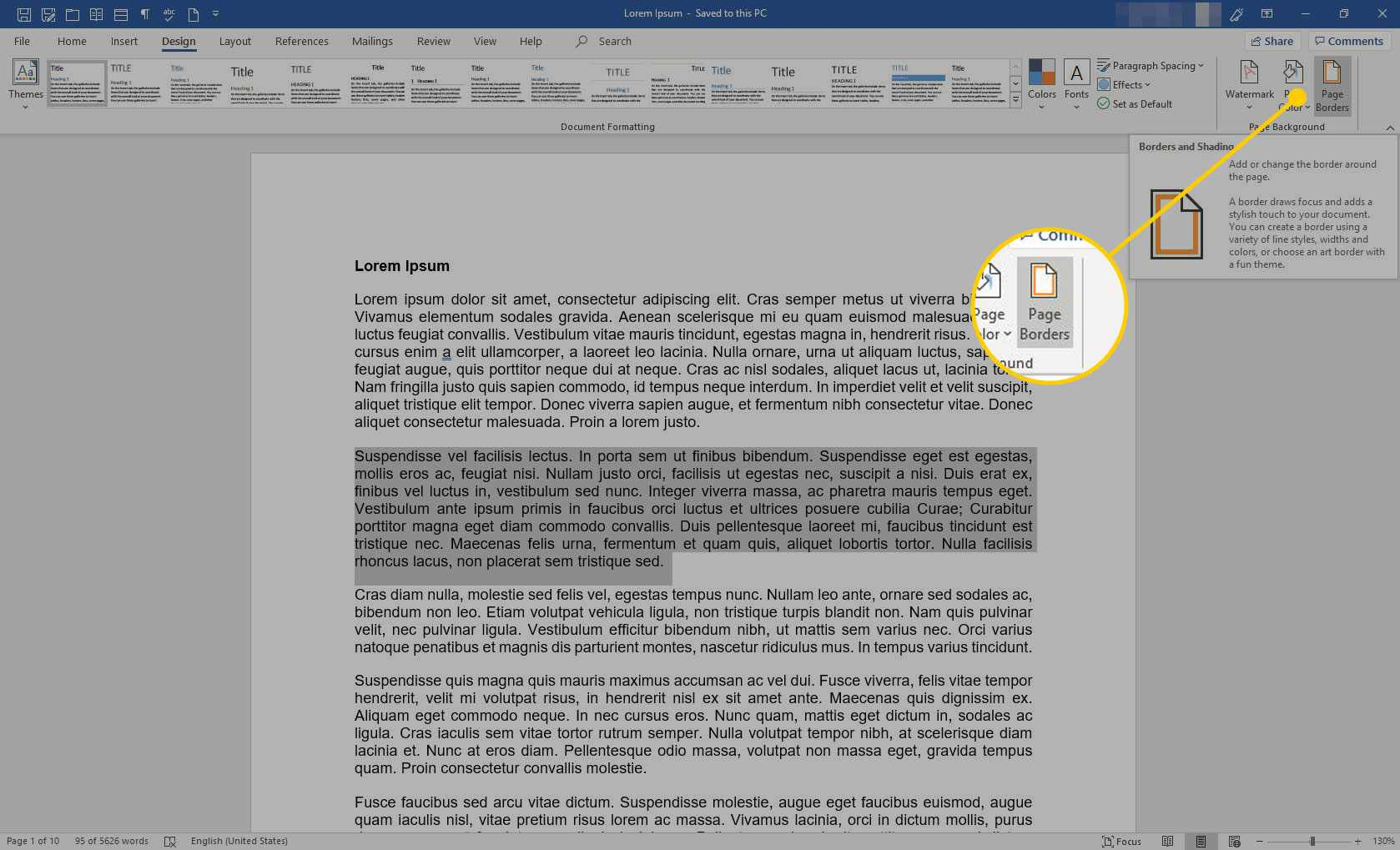 A Word document with the Page Borders button highlighted