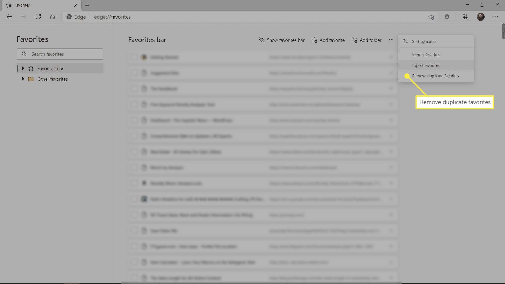 The Remove duplicate favorites in Microsoft Edge.