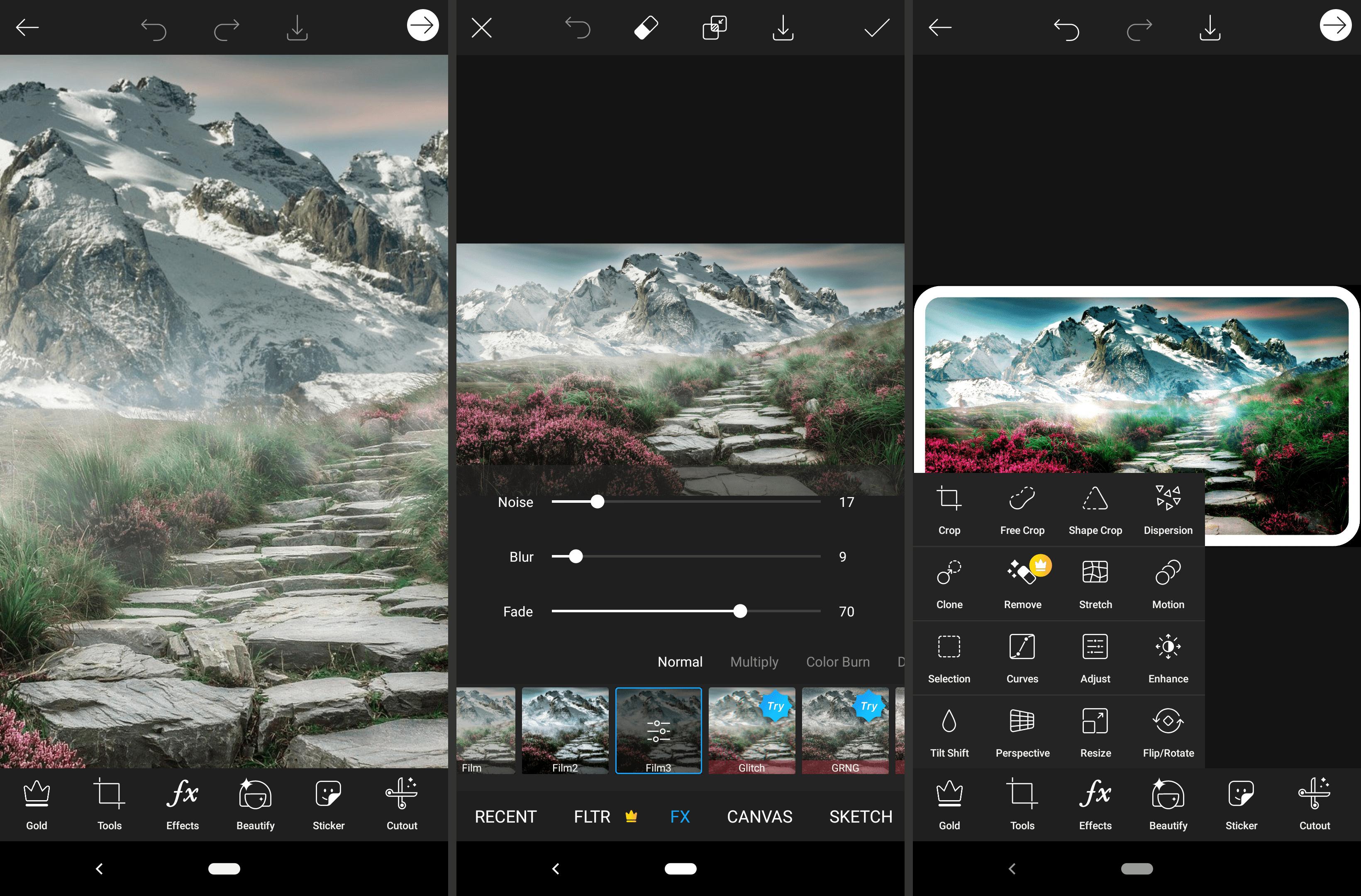 Screenshots of the Picsart Android image editor app