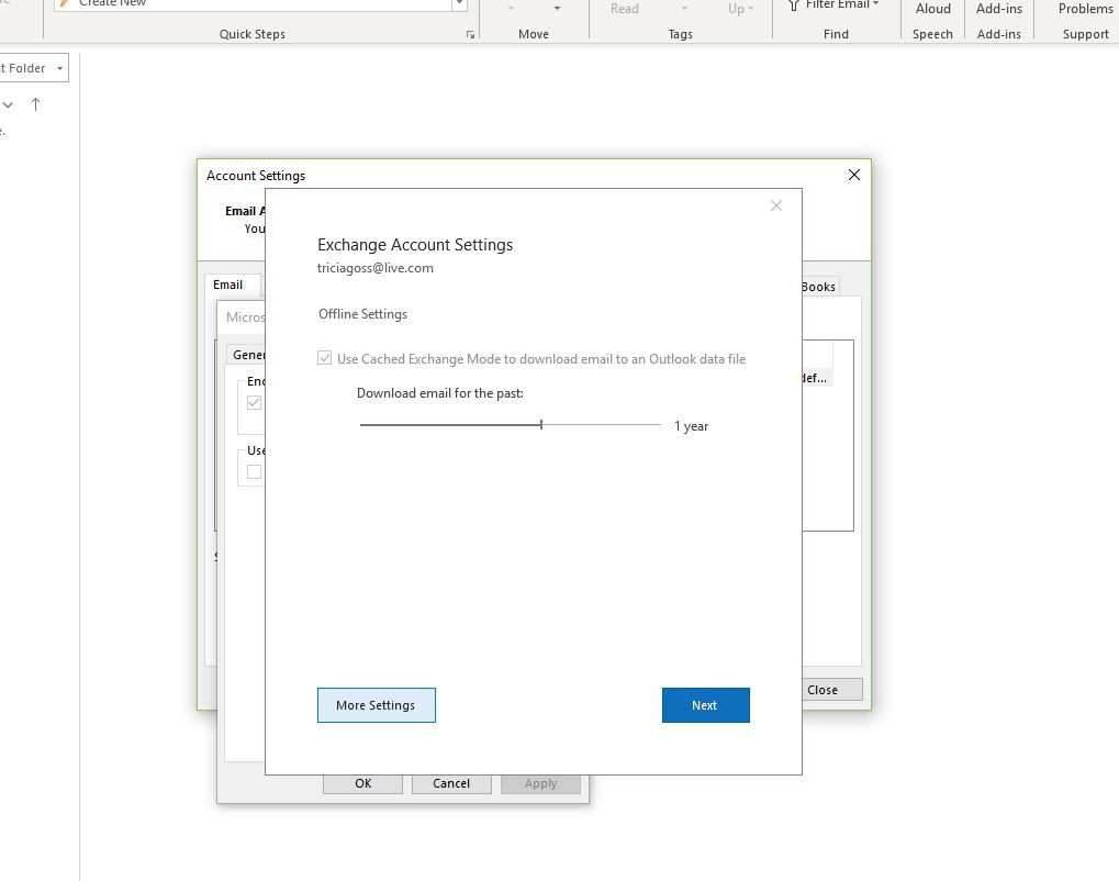 Screenshot of Account Settings showing More Settings button