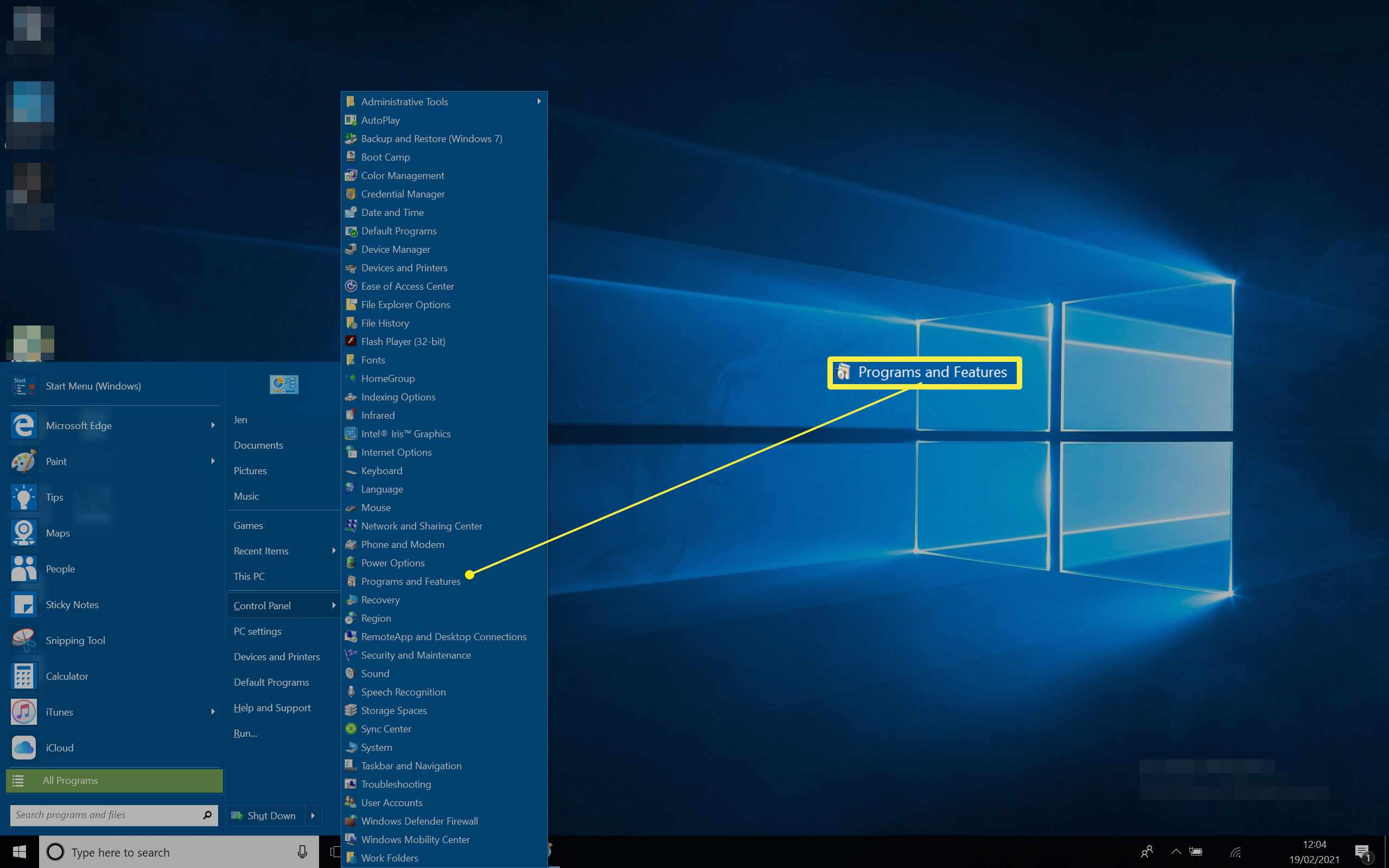 Windows 10 Desktop with Start Menu open and Control Panel options listed with programs and features highlighted