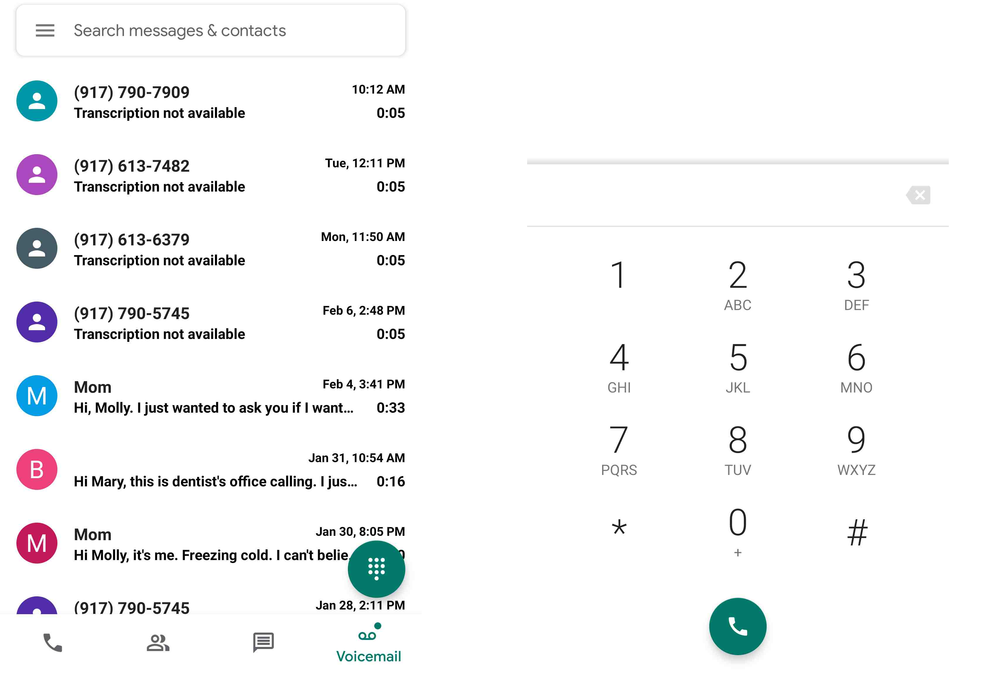 Google Voice app message list and dialer