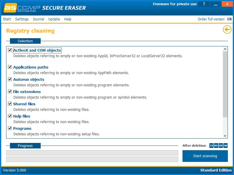 Secure Eraser v5.000 in Windows 8